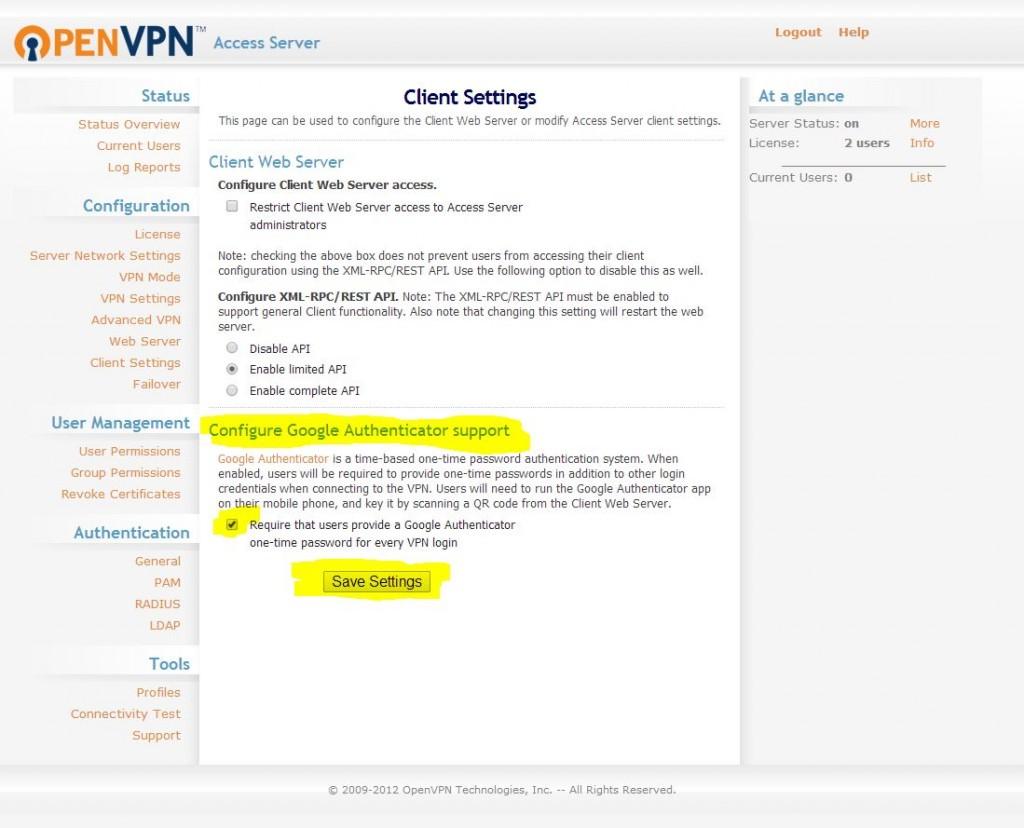 OpenVPN Google Authenticator Settings