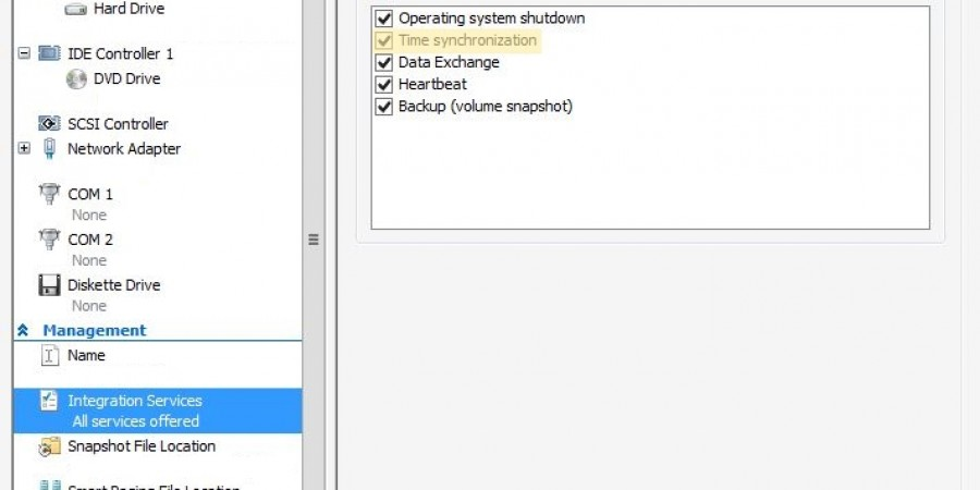 Hyper-V-time-sync-management-integration-setting